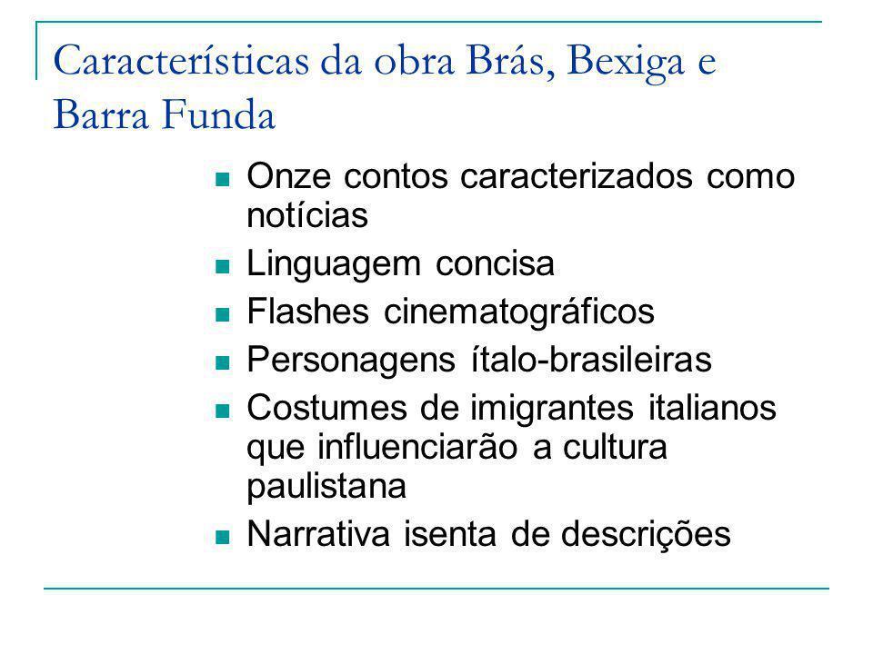 Características da obra Brás, Bexiga e Barra Funda Onze contos caracterizados como notícias Linguagem concisa Flashes cinematográficos Personagens íta
