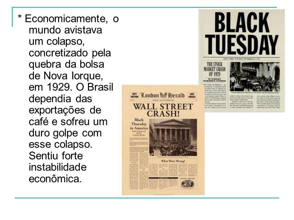 * Economicamente, o mundo avistava um colapso, concretizado pela quebra da bolsa de Nova Iorque, em 1929. O Brasil dependia das exportações de café e