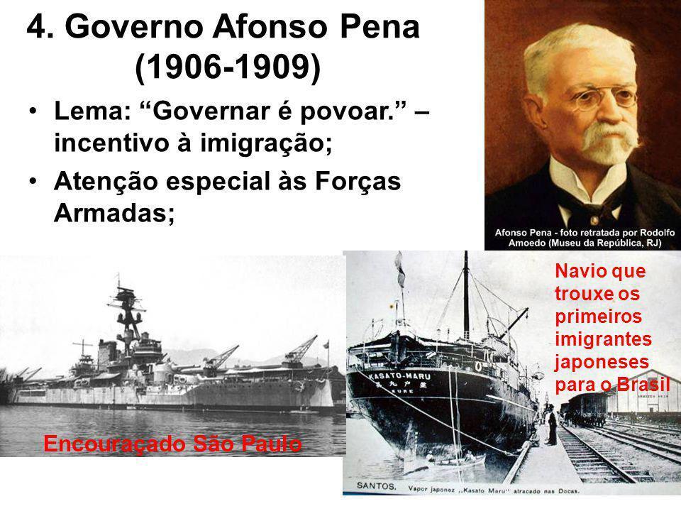 4.Governo Afonso Pena (1906-1909) Lema: Governar é povoar.