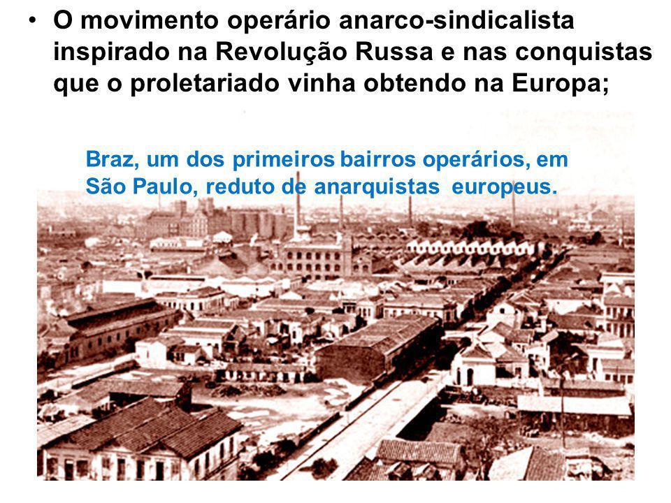 O movimento operário anarco-sindicalista inspirado na Revolução Russa e nas conquistas que o proletariado vinha obtendo na Europa; Braz, um dos primeiros bairros operários, em São Paulo, reduto de anarquistas europeus.