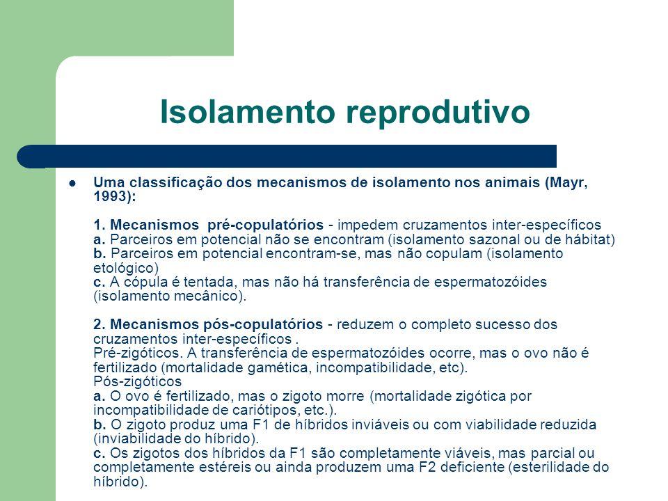 Isolamento reprodutivo Uma classificação dos mecanismos de isolamento nos animais (Mayr, 1993): 1. Mecanismos pré-copulatórios - impedem cruzamentos i