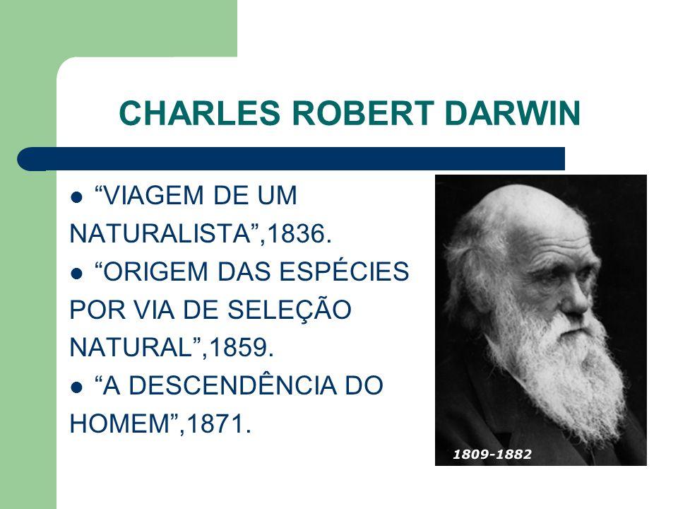 CHARLES ROBERT DARWIN VIAGEM DE UM NATURALISTA,1836. ORIGEM DAS ESPÉCIES POR VIA DE SELEÇÃO NATURAL,1859. A DESCENDÊNCIA DO HOMEM,1871.