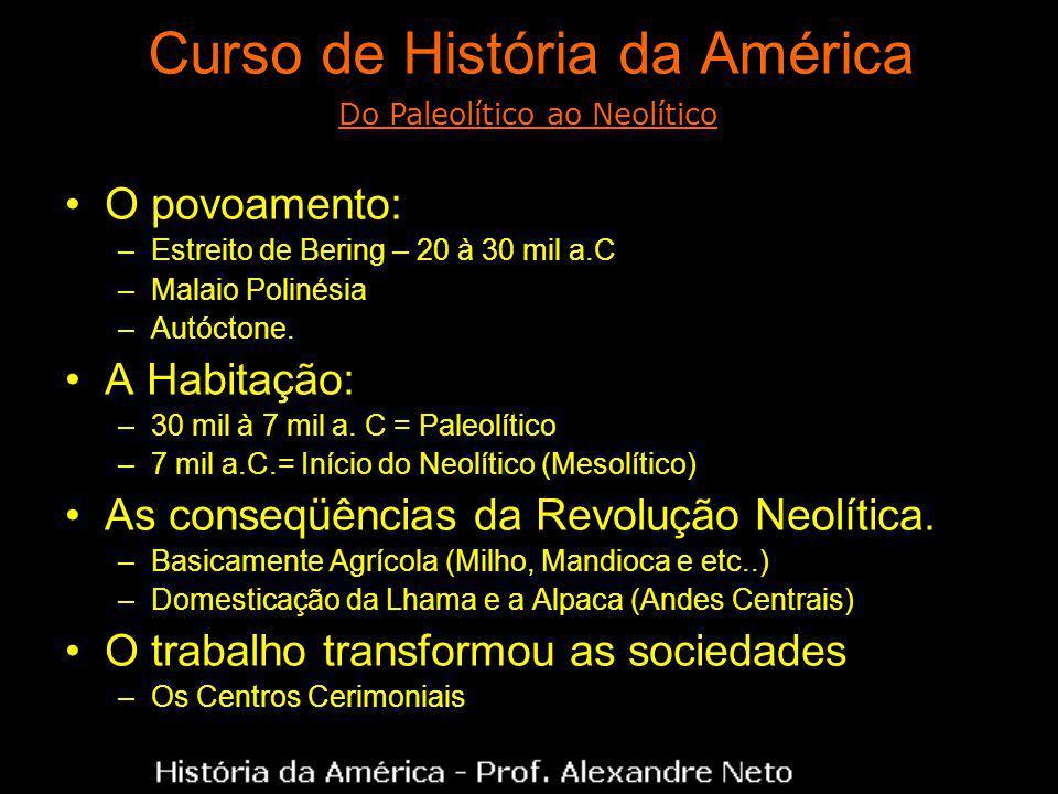 Curso de História da América O povoamento: –Estreito de Bering – 20 à 30 mil a.C –Malaio Polinésia –Autóctone. A Habitação: –30 mil à 7 mil a. C = Pal