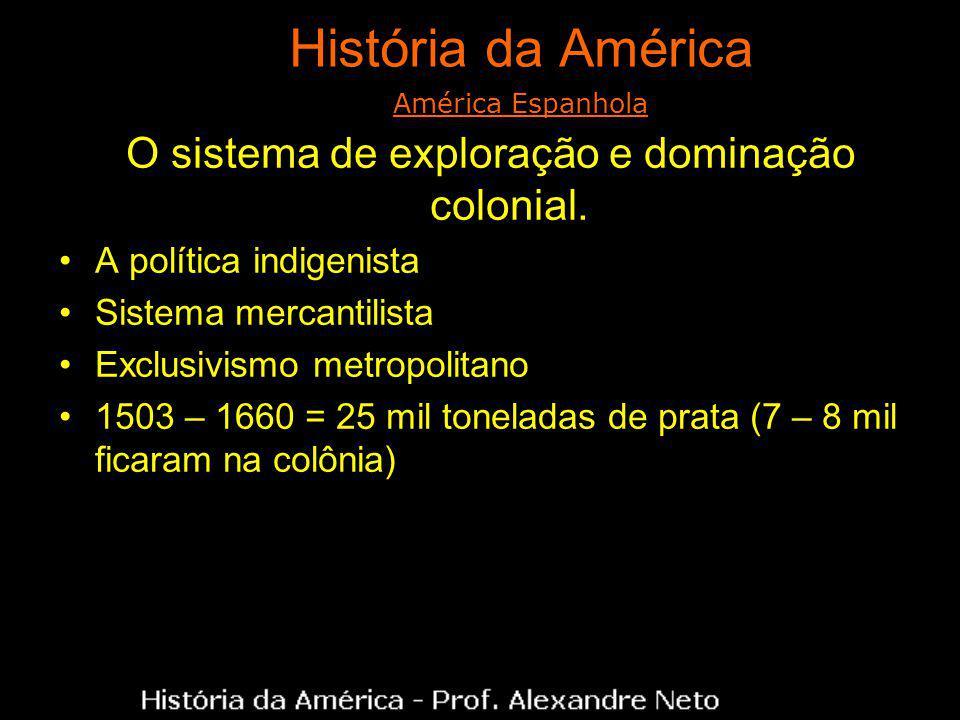 História da América O sistema de exploração e dominação colonial. A política indigenista Sistema mercantilista Exclusivismo metropolitano 1503 – 1660