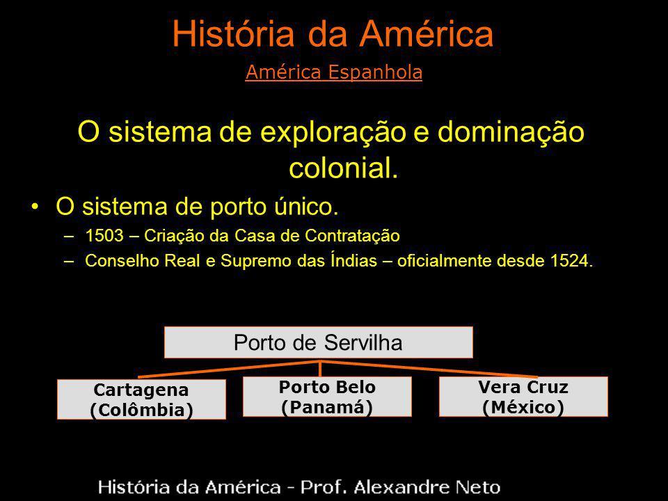 História da América O sistema de exploração e dominação colonial. O sistema de porto único. –1503 – Criação da Casa de Contratação –Conselho Real e Su