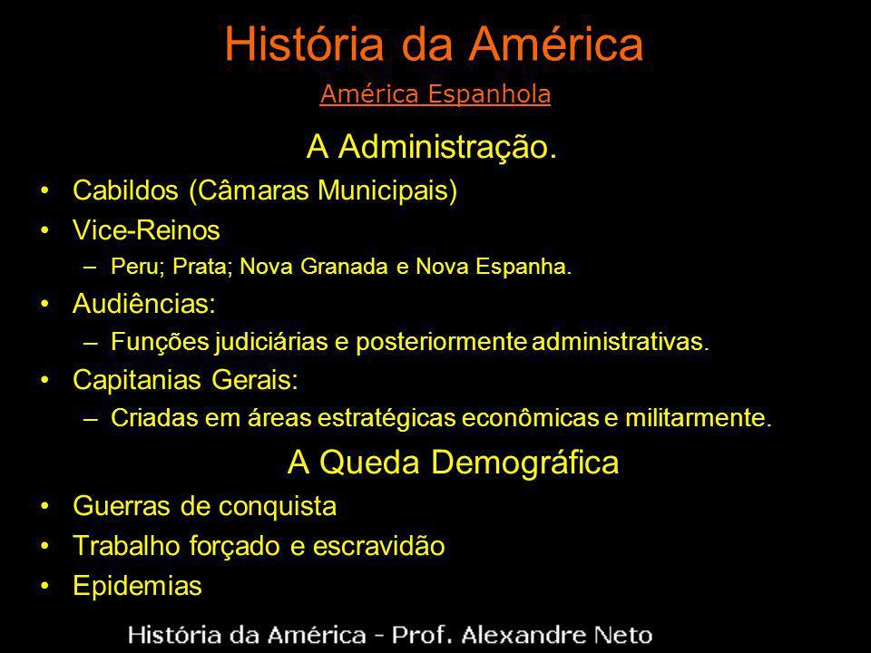 História da América A Administração. Cabildos (Câmaras Municipais) Vice-Reinos –Peru; Prata; Nova Granada e Nova Espanha. Audiências: –Funções judiciá