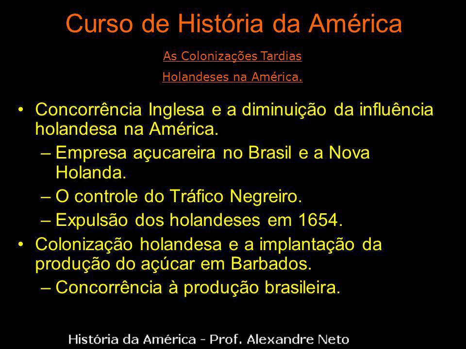 Curso de História da América Concorrência Inglesa e a diminuição da influência holandesa na América. –Empresa açucareira no Brasil e a Nova Holanda. –