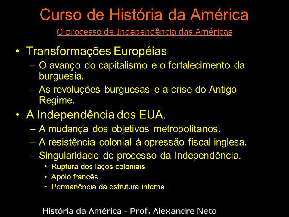 Curso de História da América Transformações Européias –O avanço do capitalismo e o fortalecimento da burguesia. –As revoluções burguesas e a crise do