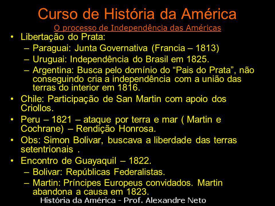 Curso de História da América Libertação do Prata: –Paraguai: Junta Governativa (Francia – 1813) –Uruguai: Independência do Brasil em 1825. –Argentina: