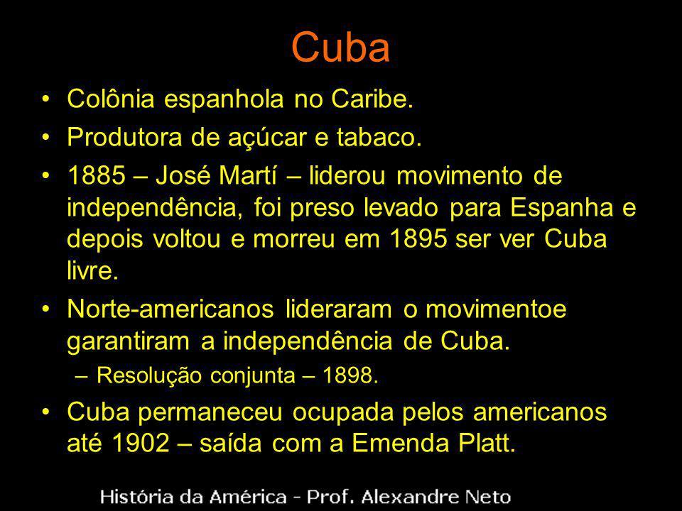 Cuba Colônia espanhola no Caribe. Produtora de açúcar e tabaco. 1885 – José Martí – liderou movimento de independência, foi preso levado para Espanha