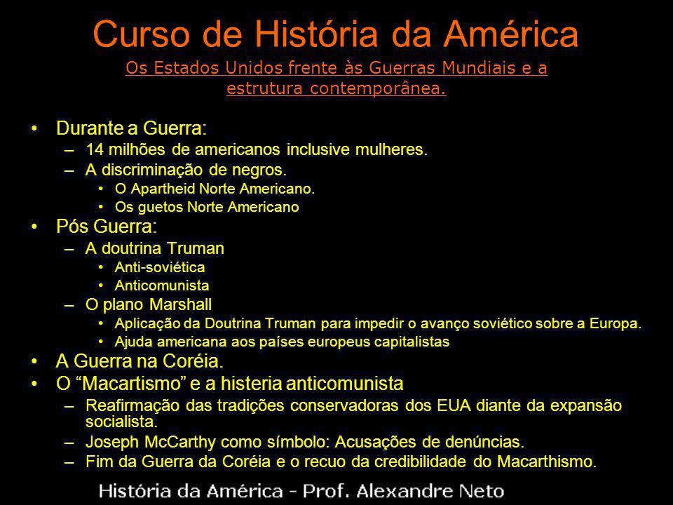 Curso de História da América Durante a Guerra: –14 milhões de americanos inclusive mulheres. –A discriminação de negros. O Apartheid Norte Americano.