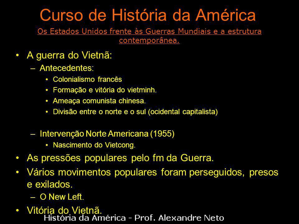 Curso de História da América A guerra do Vietnã: –Antecedentes: Colonialismo francês Formação e vitória do vietminh.