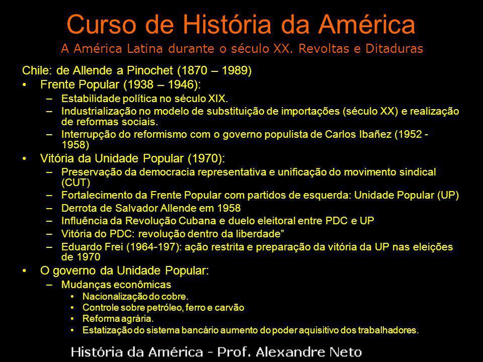 Curso de História da América Chile: de Allende a Pinochet (1870 – 1989) Frente Popular (1938 – 1946): –Estabilidade política no século XIX. –Industria
