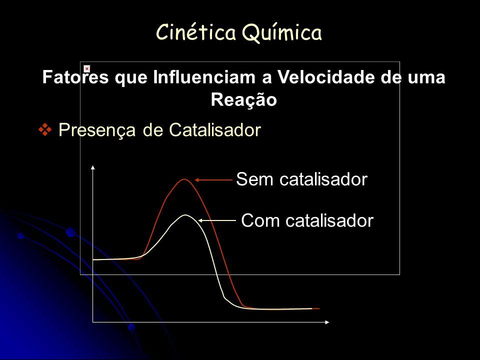 Cinética Química Fatores que Influenciam a Velocidade de uma Reação Presença de Catalisador Sem catalisador Com catalisador