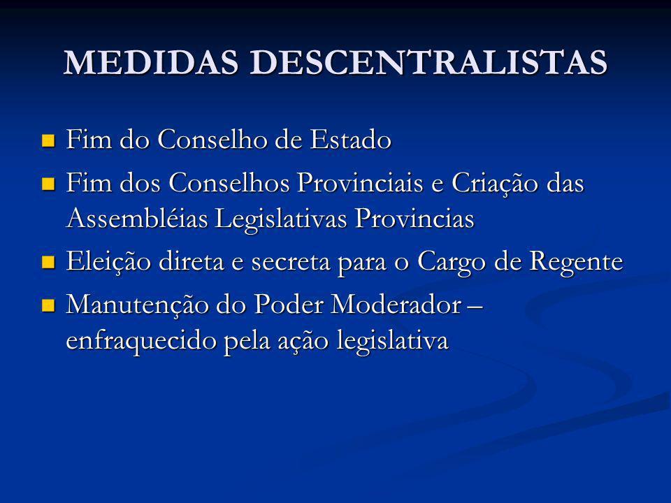 MEDIDAS DESCENTRALISTAS Fim do Conselho de Estado Fim do Conselho de Estado Fim dos Conselhos Provinciais e Criação das Assembléias Legislativas Provi