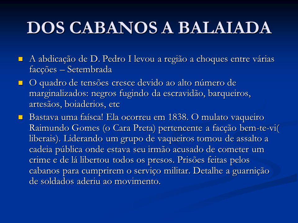 DOS CABANOS A BALAIADA A abdicação de D. Pedro I levou a região a choques entre várias facções – Setembrada A abdicação de D. Pedro I levou a região a