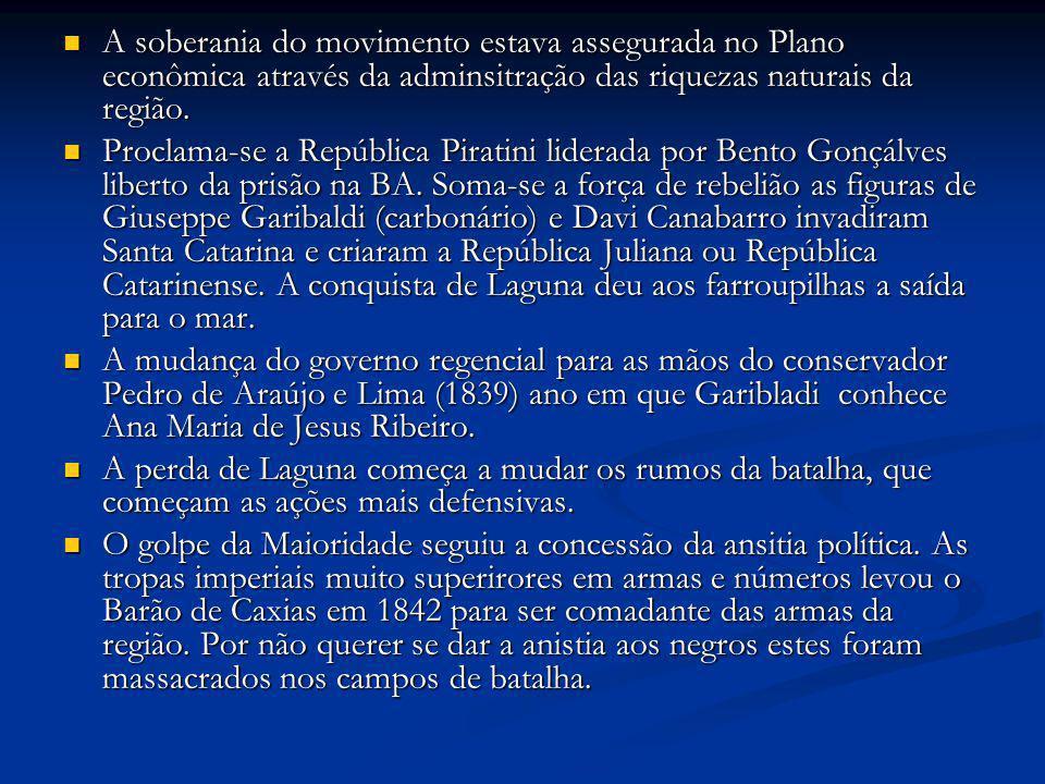 A soberania do movimento estava assegurada no Plano econômica através da adminsitração das riquezas naturais da região. A soberania do movimento estav