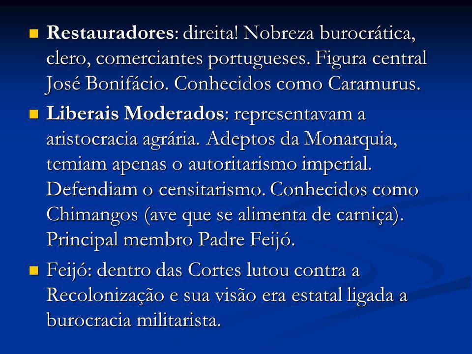 Restauradores: direita! Nobreza burocrática, clero, comerciantes portugueses. Figura central José Bonifácio. Conhecidos como Caramurus. Restauradores: