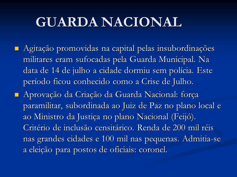 GUARDA NACIONAL Agitação promovidas na capital pelas insubordinações militares eram sufocadas pela Guarda Municipal. Na data de 14 de julho a cidade d