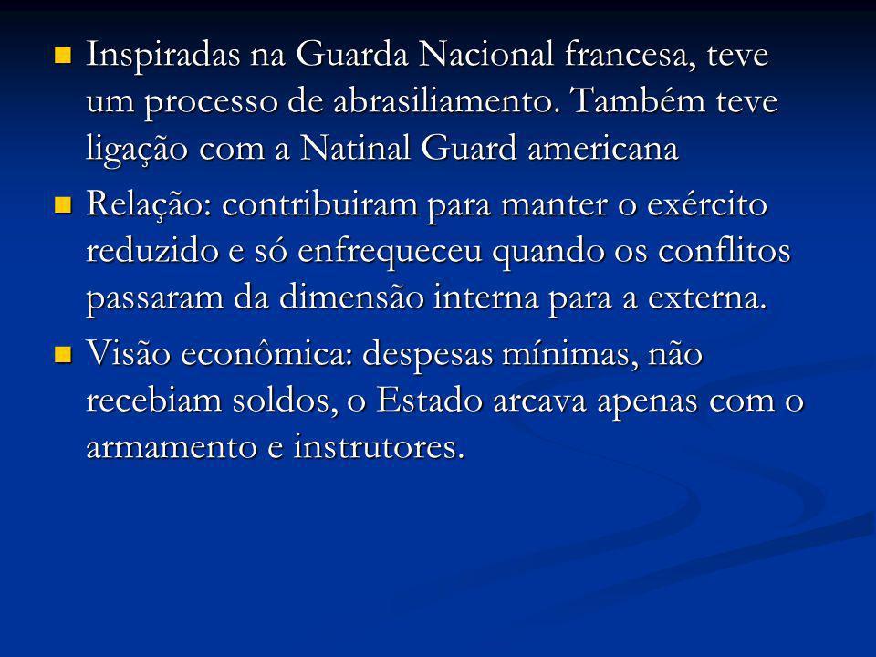Inspiradas na Guarda Nacional francesa, teve um processo de abrasiliamento. Também teve ligação com a Natinal Guard americana Inspiradas na Guarda Nac