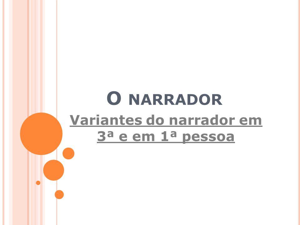 O NARRADOR Variantes do narrador em 3ª e em 1ª pessoa