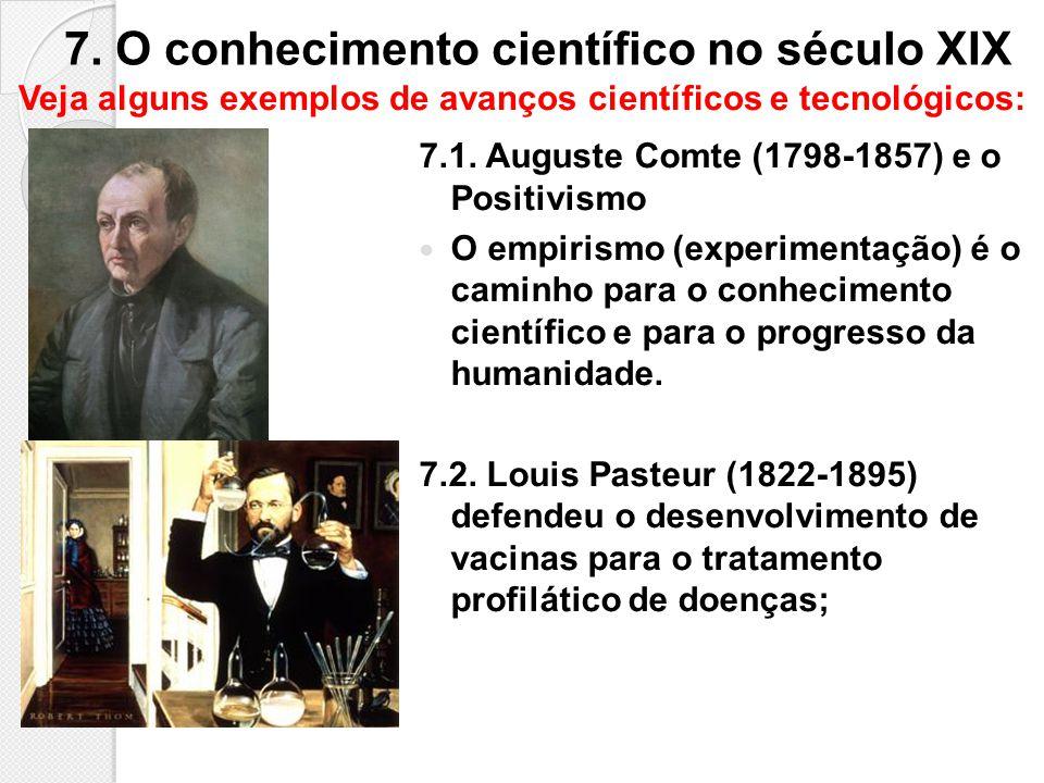 7. O conhecimento científico no século XIX 7.1. Auguste Comte (1798-1857) e o Positivismo O empirismo (experimentação) é o caminho para o conhecimento