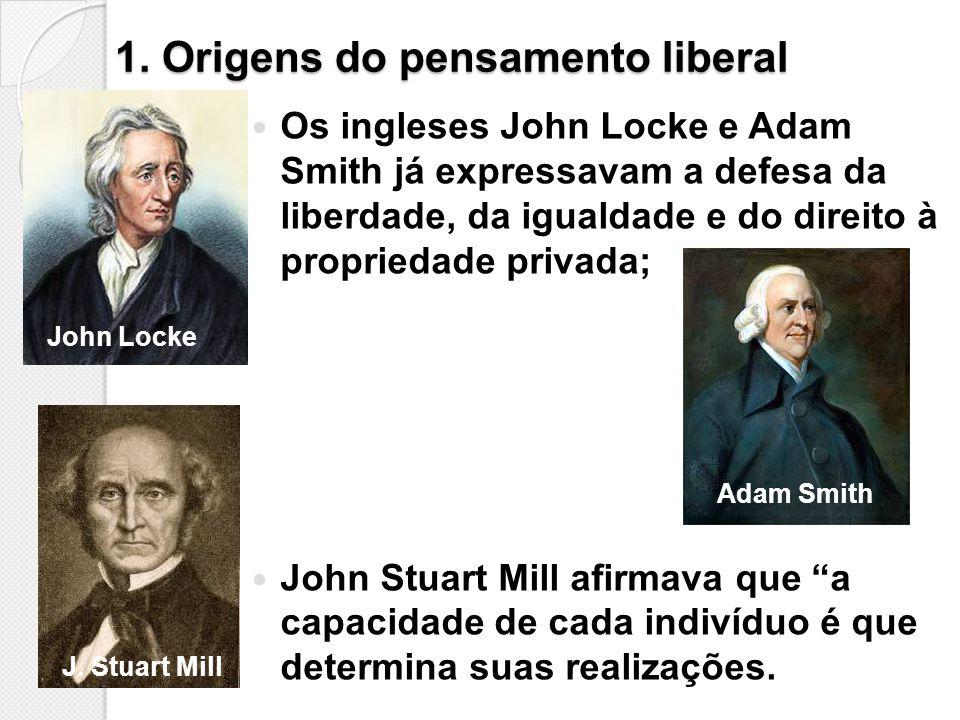 1. Origens do pensamento liberal Os ingleses John Locke e Adam Smith já expressavam a defesa da liberdade, da igualdade e do direito à propriedade pri