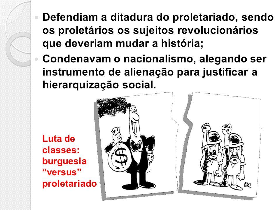 Defendiam a ditadura do proletariado, sendo os proletários os sujeitos revolucionários que deveriam mudar a história; Condenavam o nacionalismo, alega