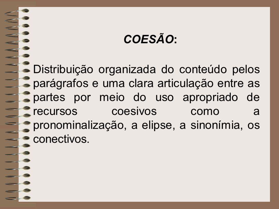 Distribuição organizada do conteúdo pelos parágrafos e uma clara articulação entre as partes por meio do uso apropriado de recursos coesivos como a pr