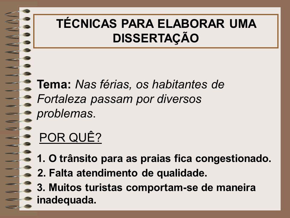 TÉCNICAS PARA ELABORAR UMA DISSERTAÇÃO Tema: Nas férias, os habitantes de Fortaleza passam por diversos problemas. POR QUÊ? 1. O trânsito para as prai