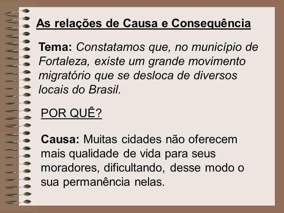 As relações de Causa e Consequência Tema: Constatamos que, no município de Fortaleza, existe um grande movimento migratório que se desloca de diversos