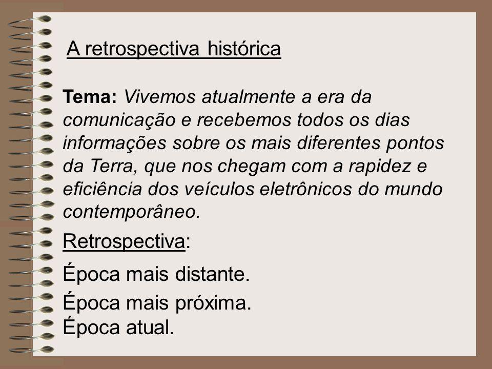 A retrospectiva histórica Tema: Vivemos atualmente a era da comunicação e recebemos todos os dias informações sobre os mais diferentes pontos da Terra