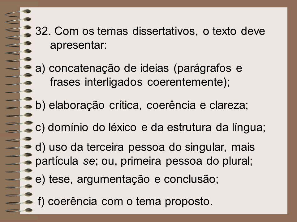 f) coerência com o tema proposto. e) tese, argumentação e conclusão; d) uso da terceira pessoa do singular, mais partícula se; ou, primeira pessoa do