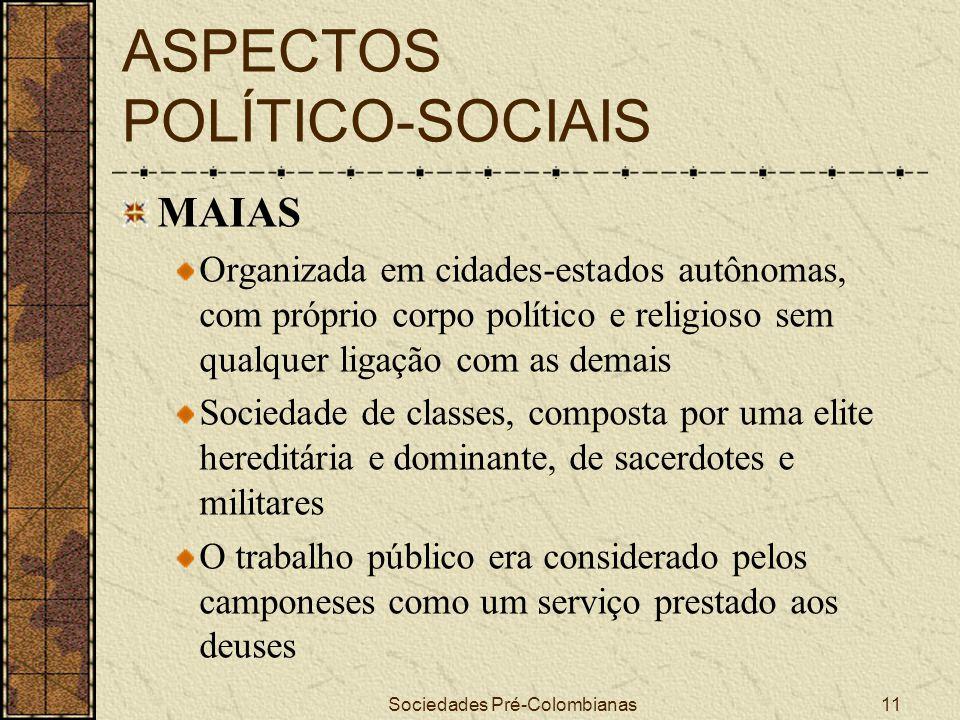 Sociedades Pré-Colombianas11 ASPECTOS POLÍTICO-SOCIAIS MAIAS Organizada em cidades-estados autônomas, com próprio corpo político e religioso sem qualq