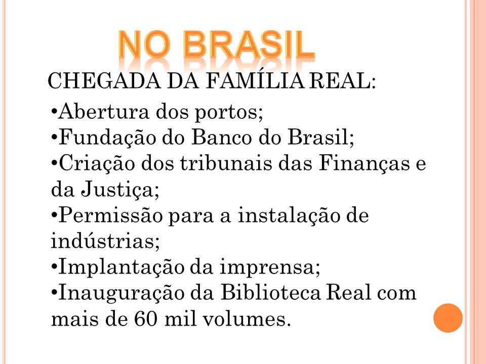 Abertura dos portos; Fundação do Banco do Brasil; Criação dos tribunais das Finanças e da Justiça; Permissão para a instalação de indústrias; Implanta