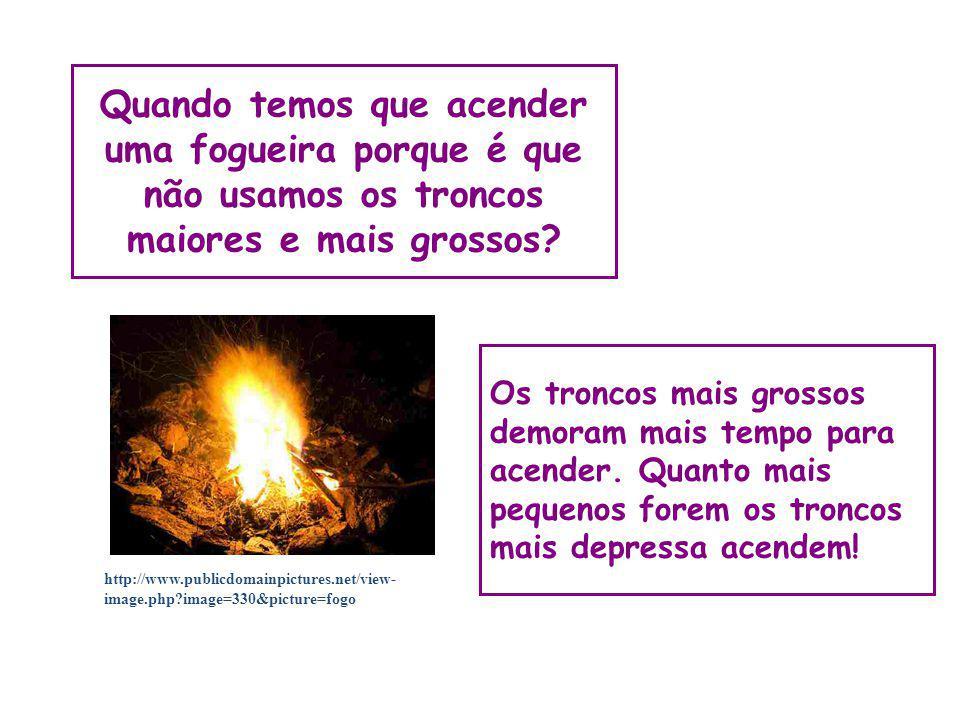 Quando temos que acender uma fogueira porque é que não usamos os troncos maiores e mais grossos? Os troncos mais grossos demoram mais tempo para acend