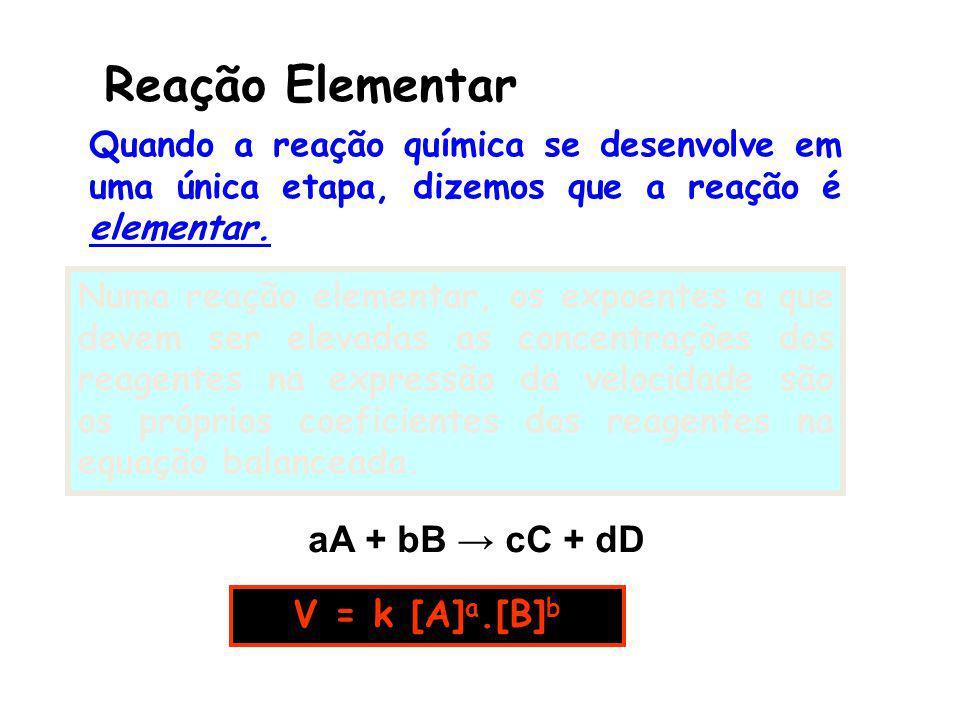 Reação Elementar aA + bB cC + dD V = k [A] a.[B] b Quando a reação química se desenvolve em uma única etapa, dizemos que a reação é elementar. Numa re