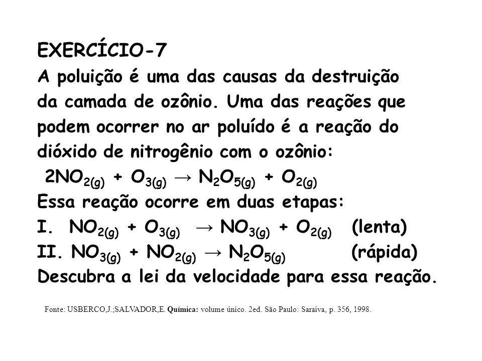 EXERCÍCIO-7 A poluição é uma das causas da destruição da camada de ozônio. Uma das reações que podem ocorrer no ar poluído é a reação do dióxido de ni