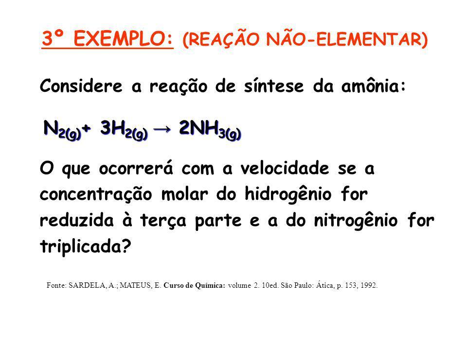 Considere a reação de síntese da amônia: O que ocorrerá com a velocidade se a concentração molar do hidrogênio for reduzida à terça parte e a do nitro