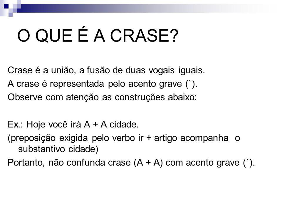O QUE É A CRASE? Crase é a união, a fusão de duas vogais iguais. A crase é representada pelo acento grave (`). Observe com atenção as construções abai