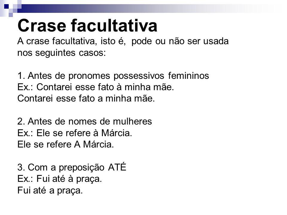 Crase facultativa A crase facultativa, isto é, pode ou não ser usada nos seguintes casos: 1. Antes de pronomes possessivos femininos Ex.: Contarei ess