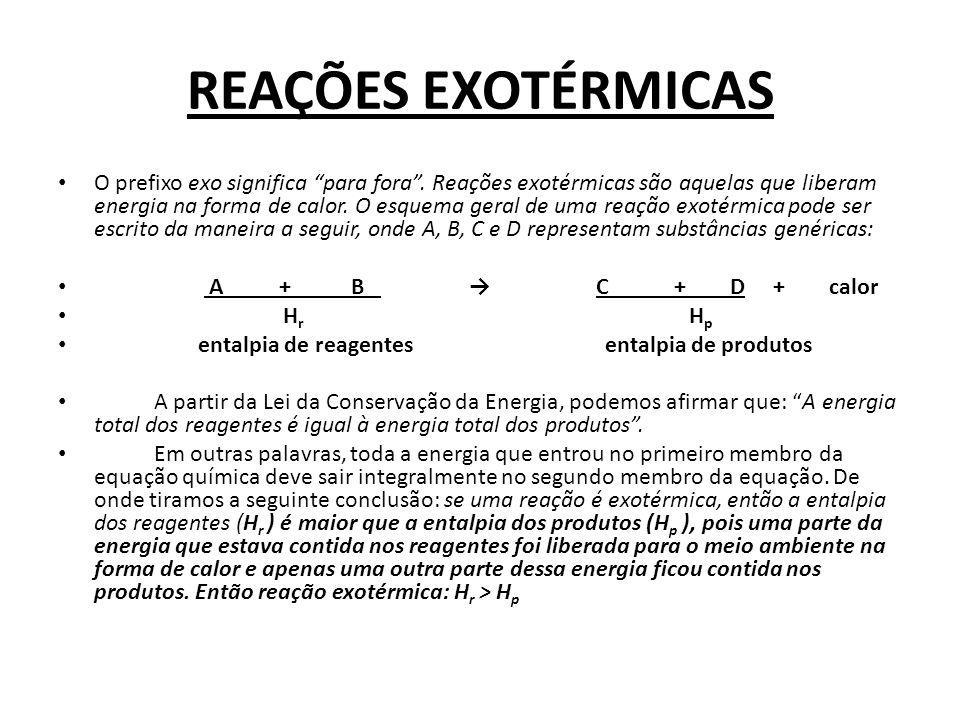 REAÇÕES EXOTÉRMICAS O prefixo exo significa para fora. Reações exotérmicas são aquelas que liberam energia na forma de calor. O esquema geral de uma r