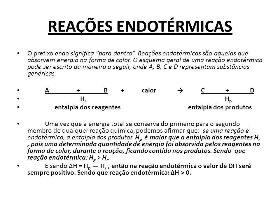 REAÇÕES ENDOTÉRMICAS O prefixo endo significa para dentro. Reações endotérmicas são aquelas que absorvem energia na forma de calor. O esquema geral de
