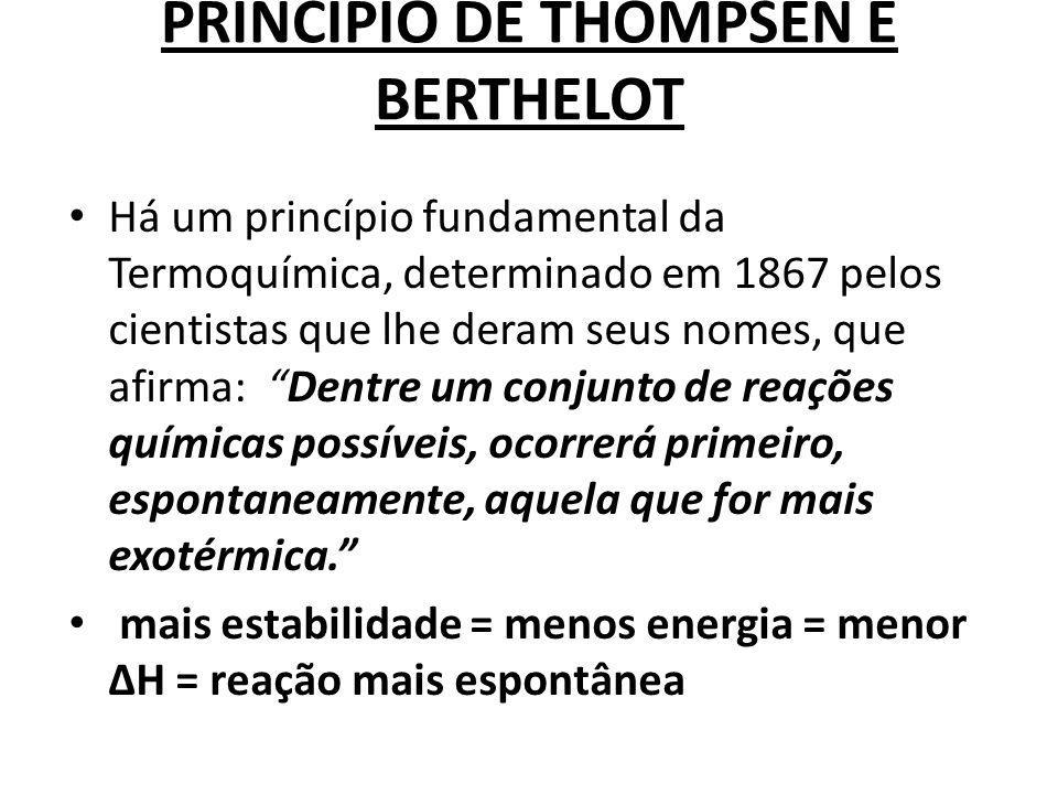 PRINCÍPIO DE THOMPSEN E BERTHELOT Há um princípio fundamental da Termoquímica, determinado em 1867 pelos cientistas que lhe deram seus nomes, que afir
