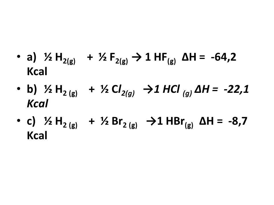 a)½ H 2(g) + ½ F 2(g) 1 HF (g) ΔH = -64,2 Kcal b)½ H 2 (g) + ½ Cl 2(g) 1 HCl (g) ΔH = -22,1 Kcal c)½ H 2 (g) + ½ Br 2 (g) 1 HBr (g) ΔH = -8,7 Kcal