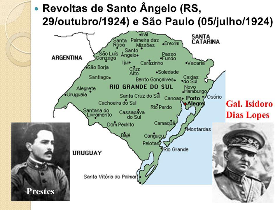 Revoltas de Santo Ângelo (RS, 29/outubro/1924) e São Paulo (05/julho/1924) Prestes Gal. Isidoro Dias Lopes