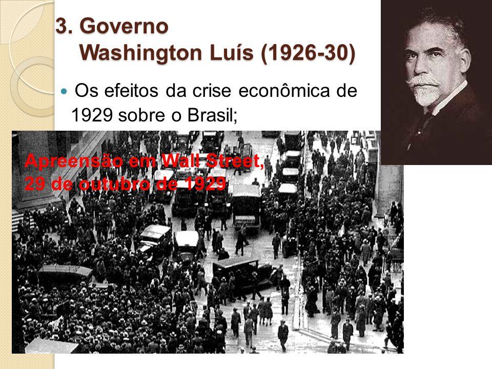 3. Governo Washington Luís (1926-30) Os efeitos da crise econômica de 1929 sobre o Brasil; Apreensão em Wall Street, 29 de outubro de 1929