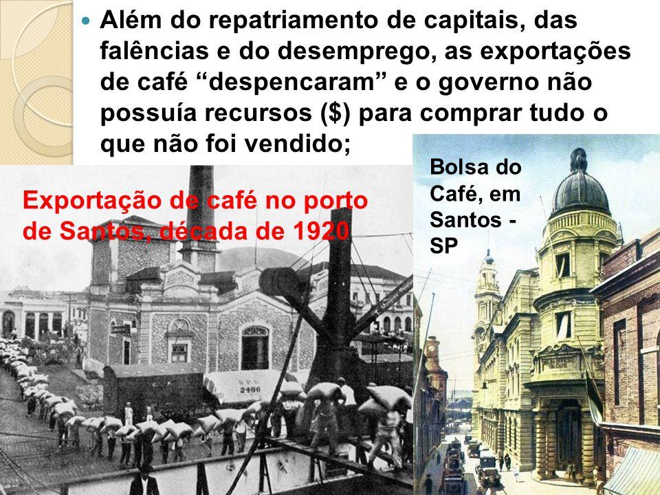 Além do repatriamento de capitais, das falências e do desemprego, as exportações de café despencaram e o governo não possuía recursos ($) para comprar