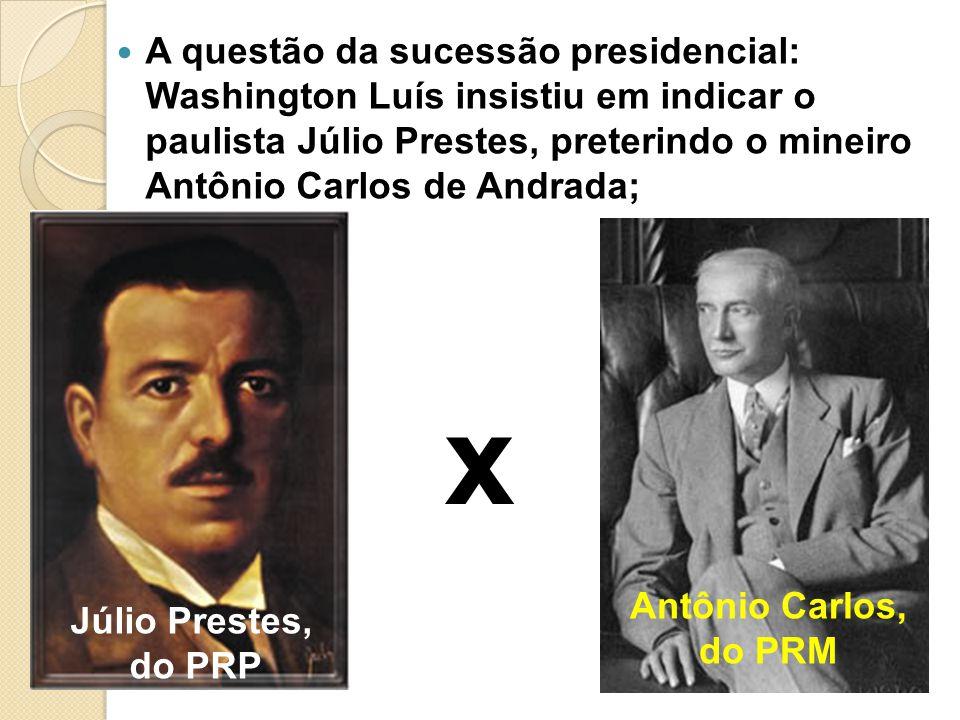 A questão da sucessão presidencial: Washington Luís insistiu em indicar o paulista Júlio Prestes, preterindo o mineiro Antônio Carlos de Andrada; x Jú