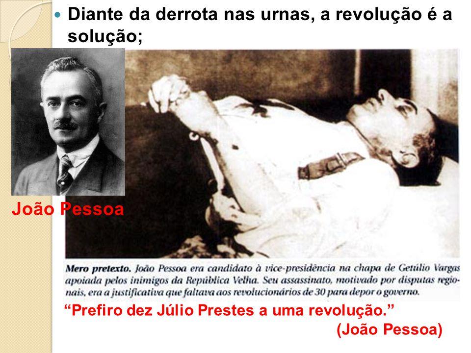 Diante da derrota nas urnas, a revolução é a solução; Prefiro dez Júlio Prestes a uma revolução. (João Pessoa) João Pessoa